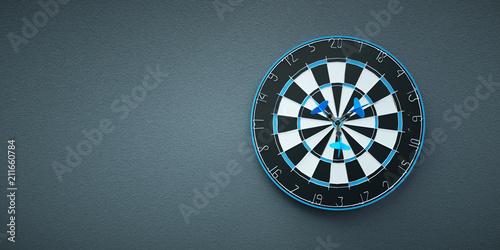 Fotografía  Arrows on target dart on grey background