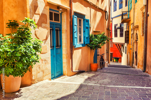 Poster Mediterranean Europe Beautiful cozy street in Chania, Crete island, Greece.