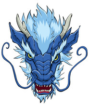 Chinese Dragon Head Blue / Hand Drawn Illustration Of Chinese Dragon In Blue.