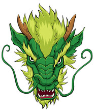 Chinese Dragon Head Green / Hand Drawn Illustration Of Chinese Dragon In Green.