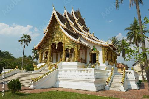 Foto op Aluminium Temple Exterior of the Buddhist Temple at Haw Kham (Royal Palace) complex in Luang Prabang, Laos.