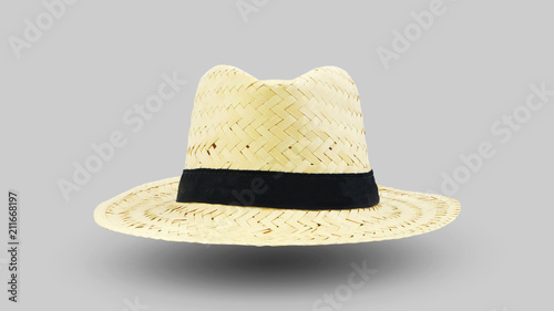 Cadres-photo bureau Vache Chapeau de paille de face sur fond gris
