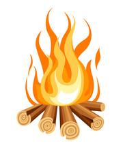 Burning Bonfire With Wood. Vector Cartoon Style Illustration Of Bonfire. Isolated On White Background