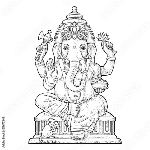 Fotografía Ganpati with mouse for poster Ganesh Chaturthi