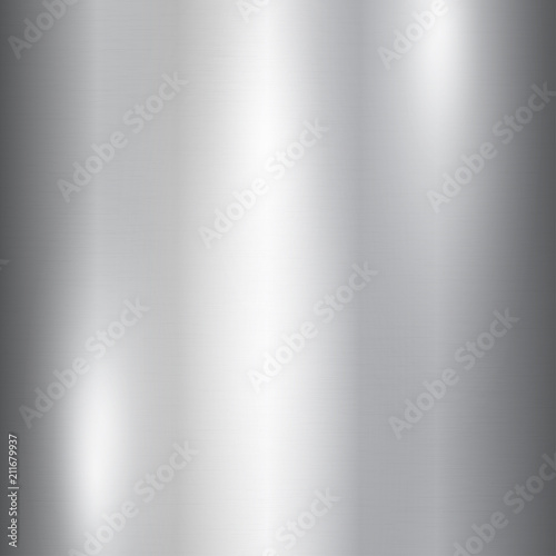 Poster de jardin Metal Vector foil silver metallic texture with shiny scratched surface, polished imitation background. Brushed steel glowing surface. Ice, cold theme design illustration for prints, posters, ads, banners.
