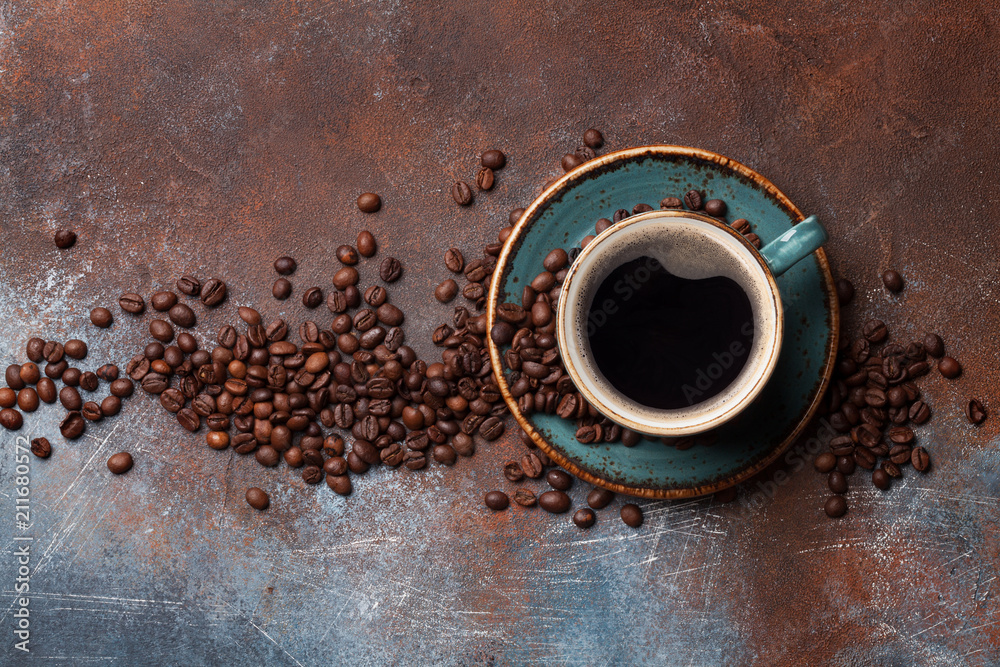 Coffee cup and roasted beans