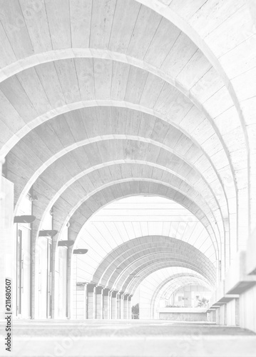 Hi-Key Image-Contemporary Architecture: Archway Arcade Modern building,architecture photography