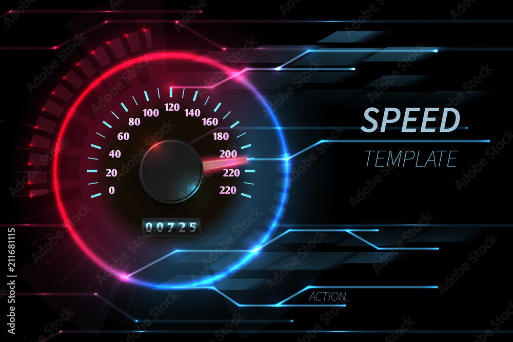 Fototapeta Speed motion line vector abstract tech background with car racing speedometer