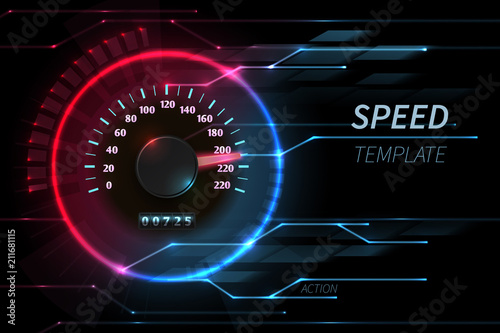 Fotografía  Speed motion line vector abstract tech background with car racing speedometer