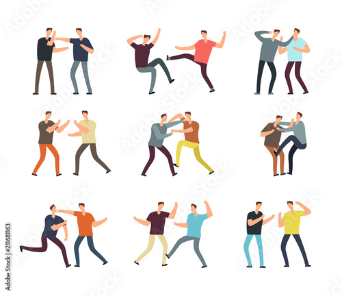 Canvas-taulu Aggressive man fighting. Cartoon vector arguing people isolated