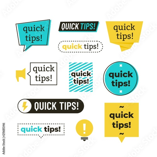 Advice, tip, quick tips, helpful tricks and suggestions vector logos, emblems and banners vector set isolated