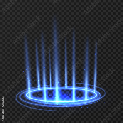 Energy spinning circle with blue glowing rays. Fantasy portal, magic twirled teleport on floor iod vector illustration Wall mural