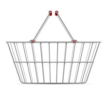 Realistic Empty Supermarket Shopping Metal Basket With Handles Vector Illustration Isolated On White Background