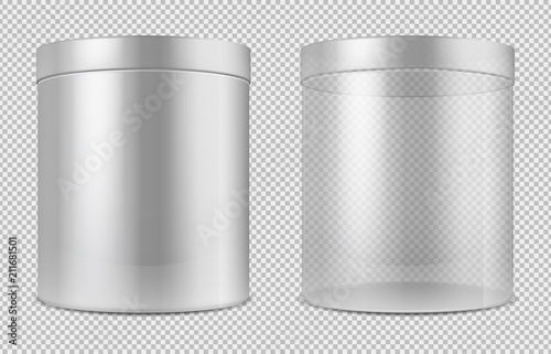 Fotografie, Obraz Cylinder empty transparent glass and white cans