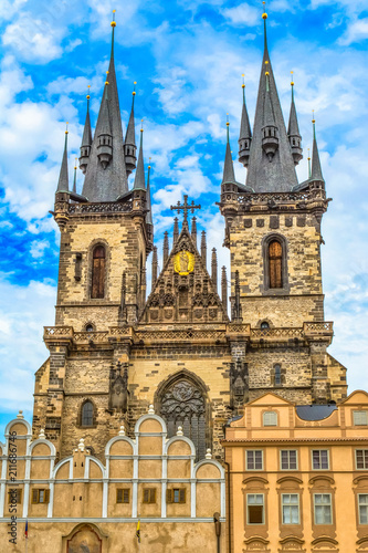Fotobehang Praag The Tyn Church in t the Old Town Square in Prague, the main parish church district Nove Mesto.