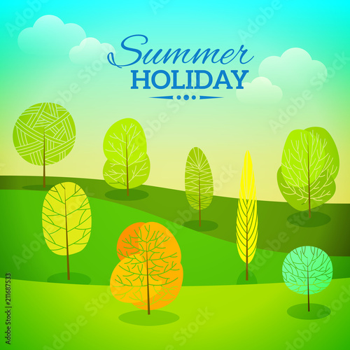 Fotobehang Lichtblauw vector summer holiday