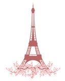 Fototapeta Fototapety z wieżą Eiffla - eiffel tower among blooming cherry tree branches - spring season Paris vector design