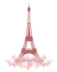 Fototapetaeiffel tower among blooming cherry tree branches - spring season Paris vector design