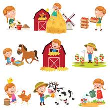 Vector Illustration Of Little Girl At Farm