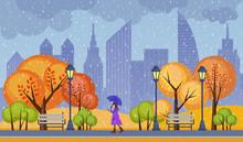 Autumn Public City Park Vector...