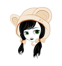 Silhouette Of A Cute Little Doll With Big Eyes, Hat With Bear Ears.