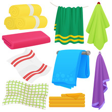 Cartoon Funny Vector Towels. Cloth Cotton Towel For Bath. Fabric Towel For Hygiene.