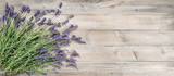 Fototapeta Kwiaty - Lavender flowers rustic wooden background Vintage still life