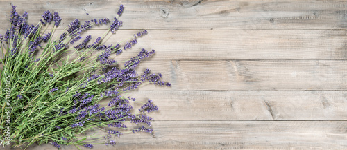 plakat Lavender flowers rustic wooden background Vintage still life