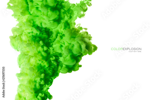 Poster Fumee Green Acrylic Ink in Water. Color Explosion. Paint Texture
