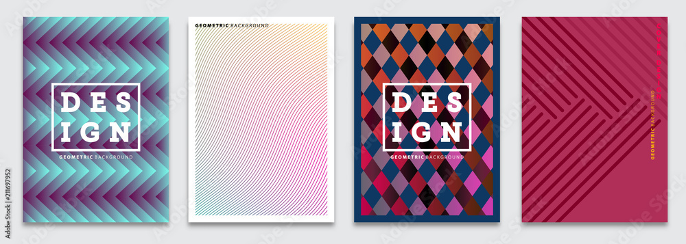 Fototapeta Cover templates set, vector geometric abstract background. Flyer, presentation, brochure, banner, poster design.