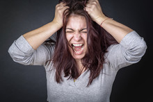 Frustrated Angry Woman Screami...