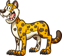 Happy Cartoon Cheetah, Jaguar Or Leopard. Vector Clip Art Illustration With Simple Gradients. All In A Single Layer.