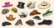 Summer Vintage Hats Collection For Elegant Men,woman, Female And Ladies. Fedora Derby Deerstalker Homburg Bowler Straw Beret Captain Cowboy Porkpie Boater. Retro Fashion Set. English Style. Hand Drawn
