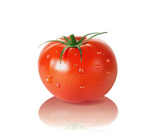 Tomato With Drops Isolated On ...