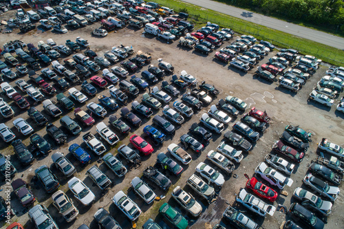 Aerial drone photo junk yard for cars automobile Wallpaper Mural