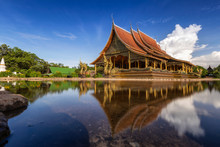 Sirindhorn Wararam Phu Prao Temple Is Famous Landmark In Ubonratchatani Province, Thailand.