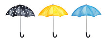 Collection Of Different Cheerful Umbrellas. Classic Design, Bright Colours, Metal Handles, Side View. Handdrawn Watercolour Sketchy Paint On White Background, Cut Out Clipart Elements For Decoration.