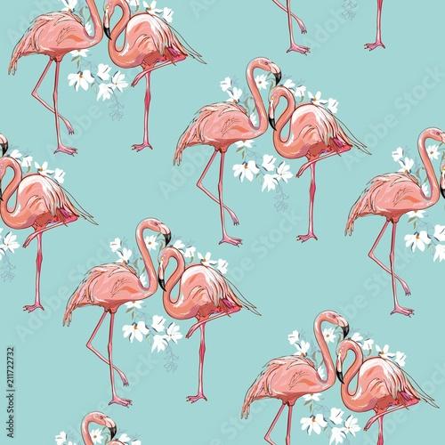 Canvas Prints Flamingo Bird seamless flamingo pattern vector illustration