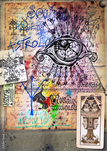 Poster Imagination Alchimia - Collage e disegni esoterici, bizzarri e misteriosi