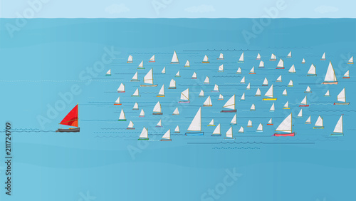 Boat with Red Sail falling behind the Fleet, Sailboats at Sea, Losing Concept, Catching Up Poster Mural XXL