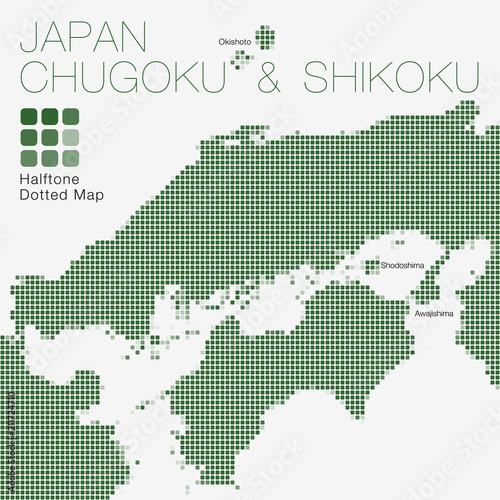 Chugoku & Shikoku, Japan #Halftone Dotted Map ( Vector Illustration ...