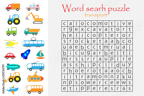 Word Search Puzzle For Children, Transport Theme, Fun