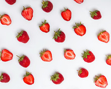 Ripe Strawberries On The White...