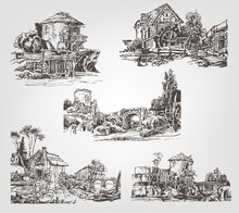 Set Of Illustrations With Wate...