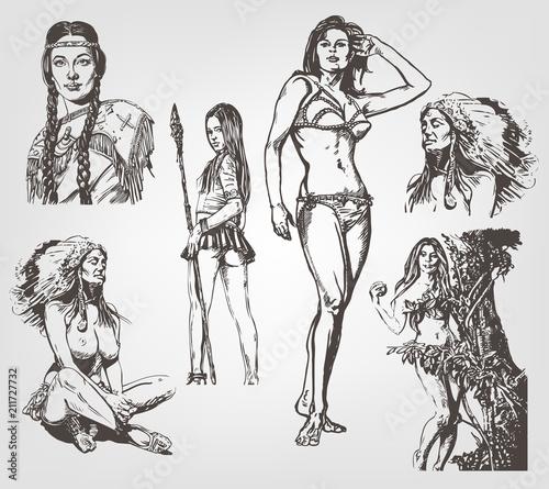 Set of graphic drawings of ethnic women. Vector illustration Wallpaper Mural