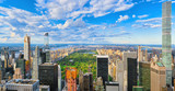 View of Central Park in Manhattan from the skyscraper's observation deck. New York.