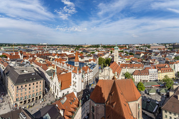 Fototapeta na wymiar Beautiful super wide-angle sunny aerial view of Munich, Bavaria.