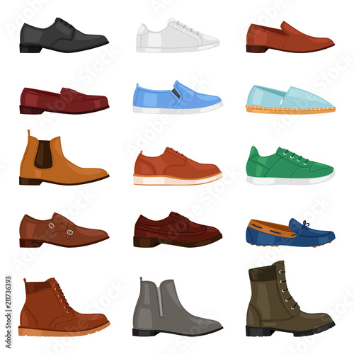 Man shoe vector fashion male boots and classic leather footwear or footgear for men illustration set of manlike foot-gear shoes with shoelace in shoeshop isolated on white background