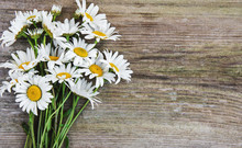 Chamomile Flowers On A Wooden Table