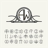 Monogram, an art nouveau label with two letters inscribed in the circle. A set of alphabet to fit in a circle. Can be used for logos, wedding designs.